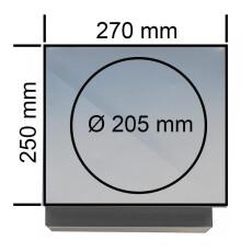 Wand Außen- und Fortlufthaube Edelstahl 270x250mm, Anschlussmaß: Ø 205mm