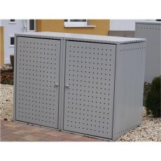 Müllbox (komplett montiert) Aluminium Mülltonnenbox...