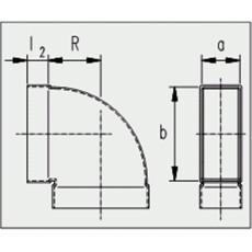 Kanalbogen 90° kurz / horizontal 50 / 200mm
