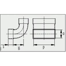 Kanalbogen 90° lang / vertikal 50 / 200mm