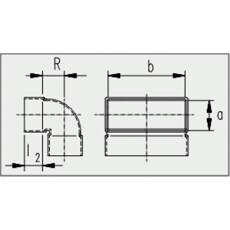 Kanalbogen 90° kurz / vertikal 50 / 200mm