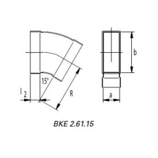 Kanalbogen 45° horizontal 50 / 200mm-Flachkanal
