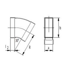 Kanalbogen 30° horizontal 50 / 200mm-Flachkanal