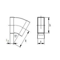 Kanalbogen 15° horizontal 50 / 150mm-Flachkanal