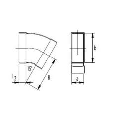 Kanalbogen 15° horizontal 50 / 200mm-Flachkanal