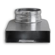 Winkelbogen 90° reckteckig auf rund, symmetrisch 50 / 200mm für Rohr DN 100