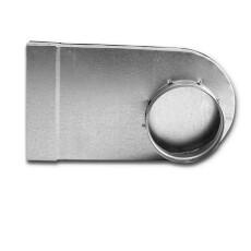 Winkelbogen 90° rechteckig auf rund, asymmetrisch linksseitig 50 / 200mm für Rohr NW 100-Flachkanal