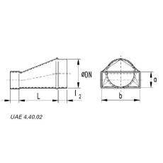 Übergangsstück von rechteckig auf rund, asymmetrisch  50 / 150 NW 125-Flachkanal