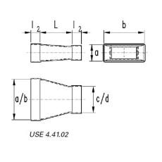 Reduzierung symmetrisch  50 / 200 auf 50 / 100-Flachkanal