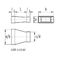 Reduzierung symmetrisch  50 / 200 auf 50 / 150-Flachkanal