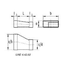 Reduzierung asymmetrisch  50 / 200 auf 50 / 150-Flachkanal