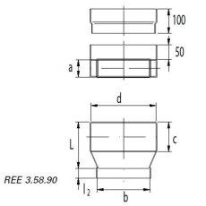 Wand- und Bodenauslassstück a/b= 50 / 100 - c/d= 100 / 200