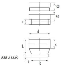 Wand- und Bodenauslassstück a/b= 50 / 100 - c/d= 100 / 300