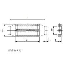 Kanalschalldämpfer mit Kulisse DN 50 / 100  LN=500mm
