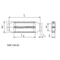 Kanalschalldämpfer mit Kulisse NW 50 / 150  LN=500mm-Flachkanal